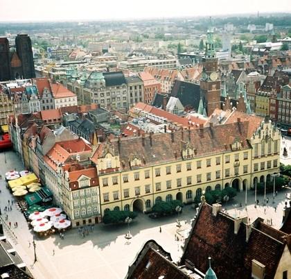 Widok na rynek główny we Wrocławiu