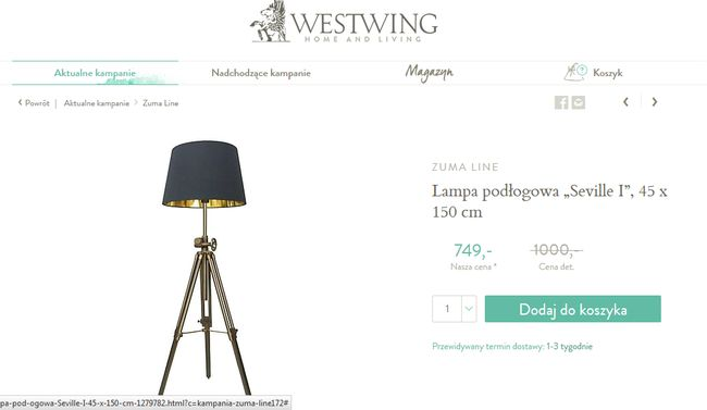 Westwing czas dostawy